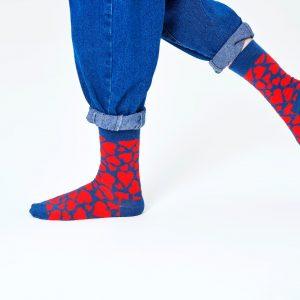 Heart socks blue/red