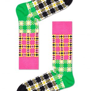 Tartan square socks pink/multi