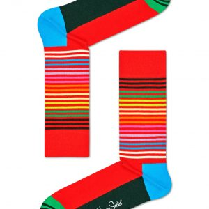 Half stripe socks red/multi