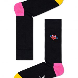 Embroidery space cat socks black