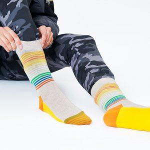 Half stripe socks brown/multi