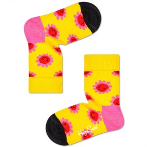 Kids Smiley flower socks yellow/pink