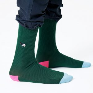 Ribbed embroidery Ying Yang cow socks green