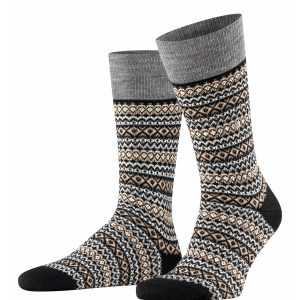 Burlington Country Fair Isle socks black