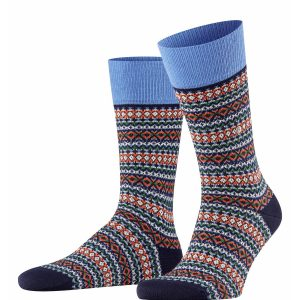 Burlington Country Fair Isle socks marine