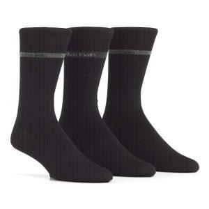 Calvin Klein bamboo band logo 3/pk sokkar black