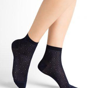 Bleuforet Losanges sokkar navy blue 3