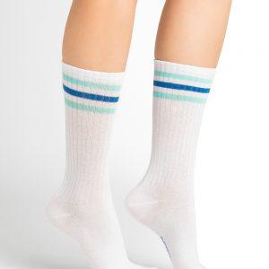 Bleuforet wide stripes sokkar turqoise & blue