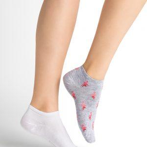 Bleuforet Flamingos 2/pk lágir sokkar grátt/hvítt