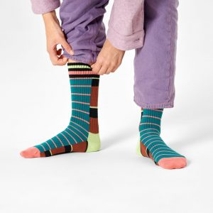 Athletic Half half thin crew socks brown/multi