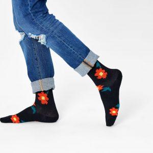 Athletic Pixle flower 3/4 crew socks black/multi
