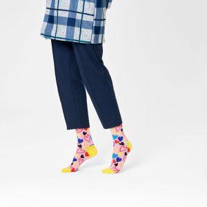 I heart U socks pink