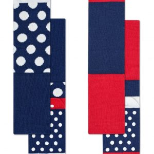 Kids 2 pack big dot anti slip socks blue/red
