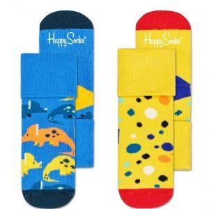 Kids 2-pack Dinosaur terry socks bleu/yellow